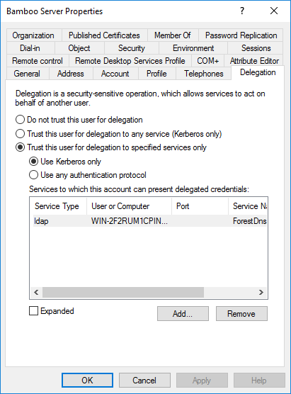 Tomcat account creation in AD - Delegation