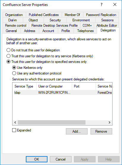 Confluence service account in AD - Delegation
