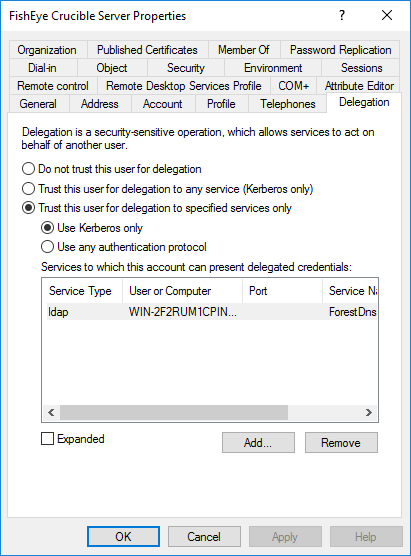 Service account in AD - Delegation