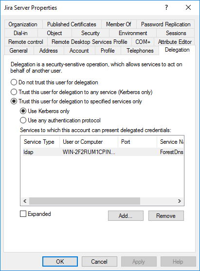 Jira service account in AD - Delegation