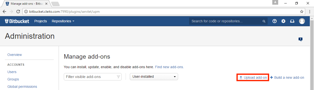 Manage add-on in Bitbucket