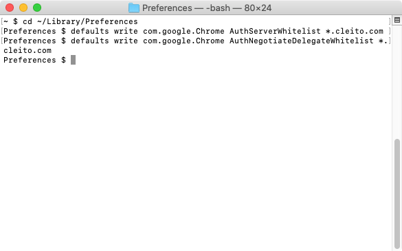 Chrome configuration on a Mac