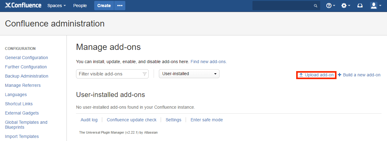 Manage add-on in Confluence
